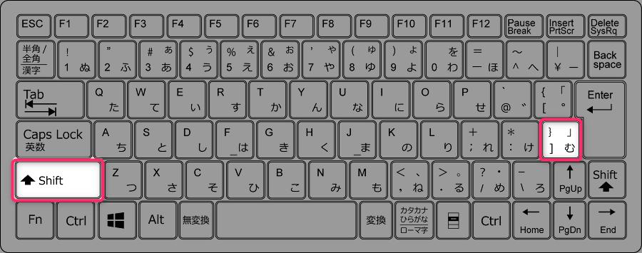 Shiftを押しながらLの3つ右のキーを押す