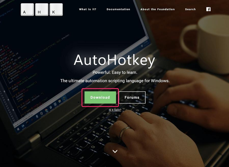 AutoHotkey インストール手順 公式サイトでDownloadをクリック