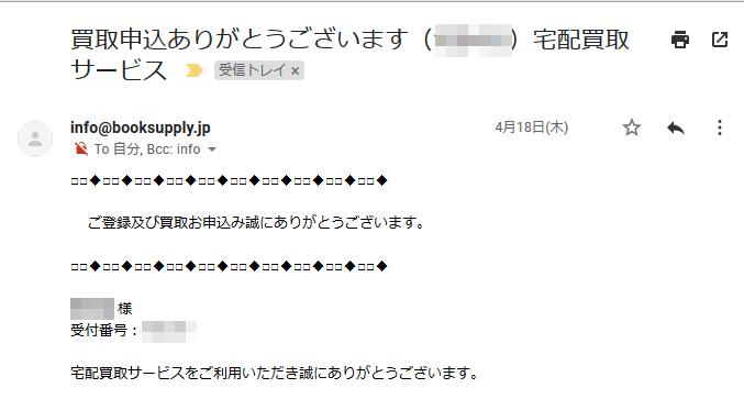 中古品買取のブックサプライ 申込み完了メール