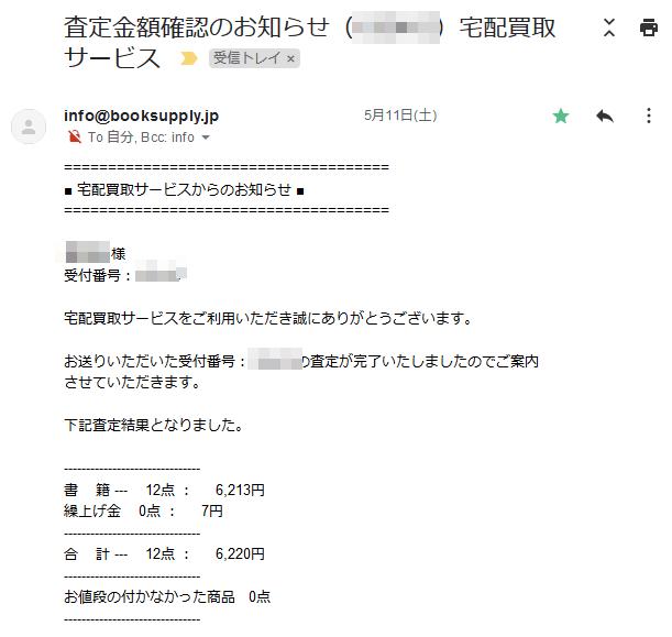 中古品買取のブックサプライ 査定金額通知メール