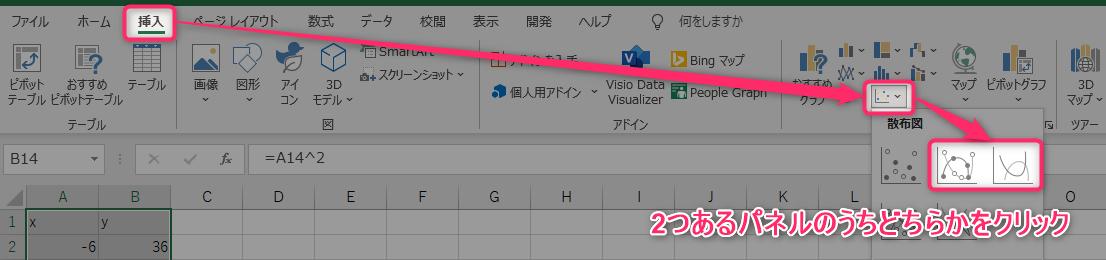 「挿入」タブの「グラフ」グループにある散布図アイコンをクリック