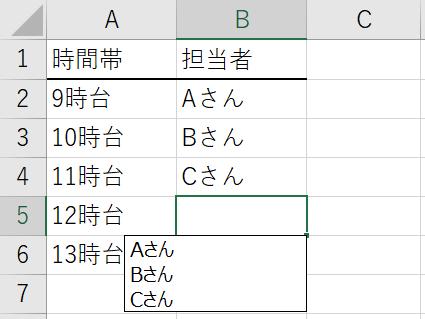 エクセル 入力済みの文字列の一覧から選択して繰り返し入力する方法 Alt+↓で一覧を表示