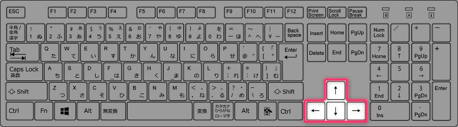 矢印キーの位置(フルキーボード)