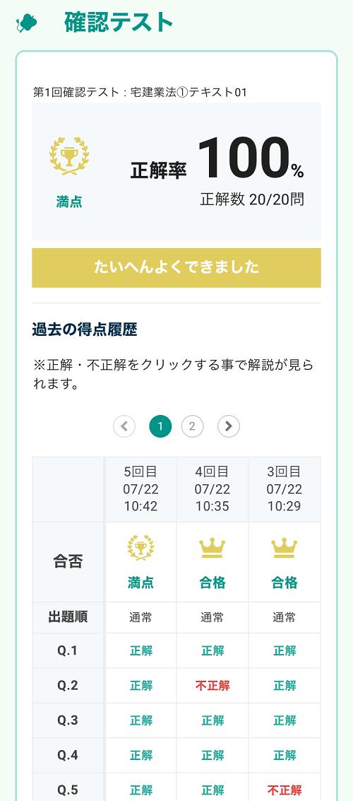 フォーサイト ManaBun(マナブン)確認テスト 正解率・解答履歴