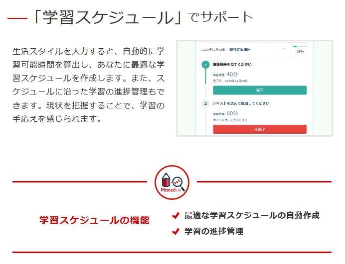 フォーサイト ManaBun(マナブン)スケジュール自動作成機能