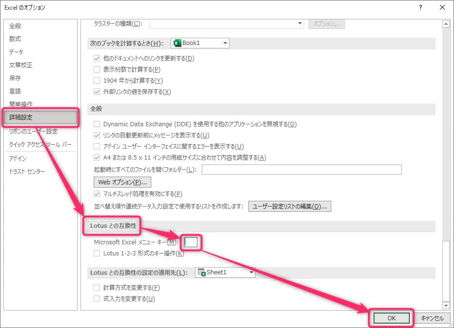 Excelのオプションウィンドウ 詳細設定width=